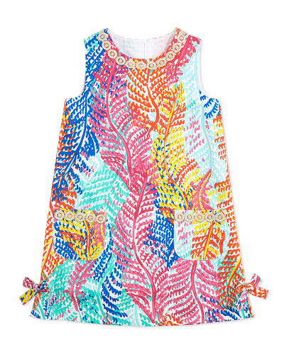 Lilly Pulitzer Little Lilly Fern-Print Classic Shift Dress, Cameo White, Sizes 2-10