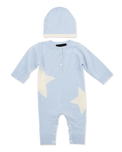 Neiman Marcus Cashmere Star Coverall and Hat, Blue