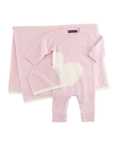 Neiman Marcus Cashmere Coverall & Hat Set, Pink/White, 3-12 Months