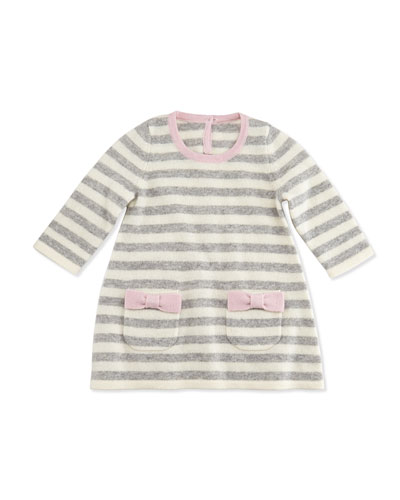 Neiman Marcus Cashmere Striped Sweaterdress, Gray/White, 6-18 Months