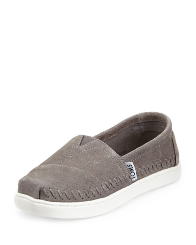 Classic Suede Slip-On Shoe, Gray, Youth