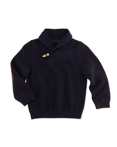 Neiman Marcus Cashmere Shawl-Collar Pullover Sweater, Navy, 6-18 Months
