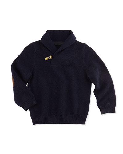 Neiman Marcus Cashmere Shawl-Collar Pullover Sweater, Navy, 6-18 Months