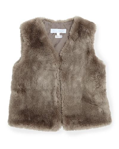 Tartine et Chocolat Faux-Fur Vest, Taupe, Girls' Sizes 8-12
