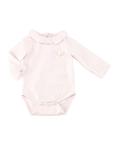 Tartine et Chocolat Ruffle-Collar Long-Sleeve Bodysuit, Pink, 3M-2Y