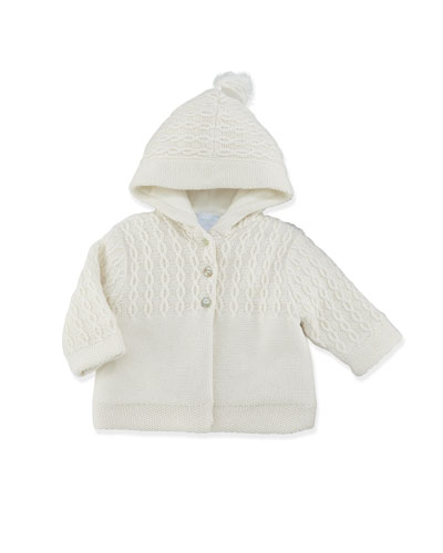 Tartine et Chocolat Cable-Knit Hooded Jacket, Pearl, 3-6 Months