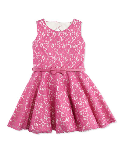 Zoe Gunmetal Glam Lace Fit-And-Flare Dress, Pink, Sizes 12-24 Months