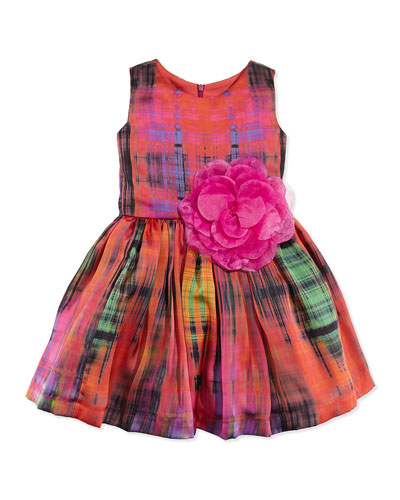 Zoe Pebble Rebel Tartan Fit-And-Flare Dress, Sizes 12-24 Months