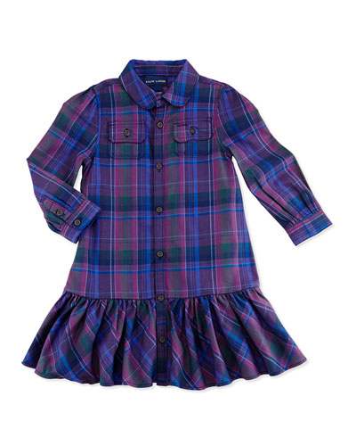 Ralph Lauren Childrenswear Plaid Twill Shirtdress, 9-24 Months