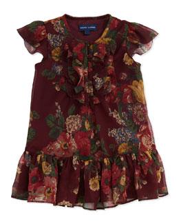 Ralph Lauren Childrenswear Crinkle-Chiffon Floral-Print Dress