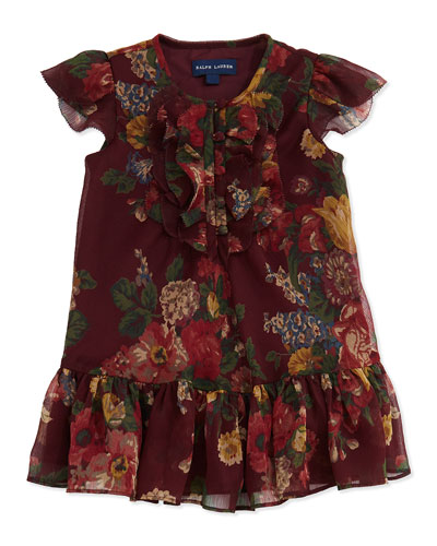 Ralph Lauren Childrenswear Crinkle-Chiffon Floral-Print Dress