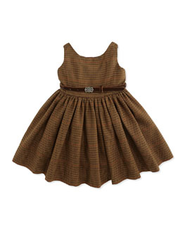 Ralph Lauren Childrenswear Sleeveless Fit-And-Flare Tweed Dress, Brown Multi, 9-24 Months
