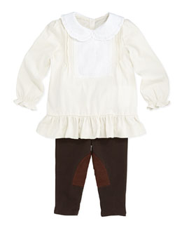 Ralph Lauren Childrenswear Ruffled Poplin Tunic & Leggings Set, Antique Cream, 9-24 Months
