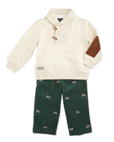 Ralph Lauren Childrenswear Vintage Varsity Fleece Shawl & Pants Set, Oatmeal Heather, 9-24 Months