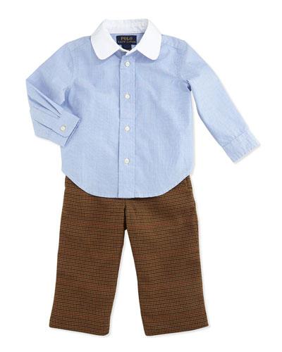 Ralph Lauren Childrenswear Houndstooth Tweed Pants Set, Racer Blue, 9-24 Months