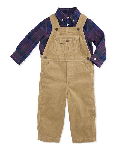 Ralph Lauren Childrenswear Corduroy Overall & Flannel Shirt Set, Burmese Tan, 9-24 Months