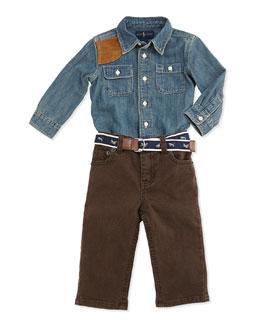 Ralph Lauren Childrenswear Long-Sleeve Chambray Shirt & Jeans Set, Quincy Wash, 9-24 Months