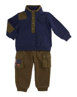 Ralph Lauren Childrenswear Collection Mock-Neck Fleece Set, French Navy, 9-24 Months