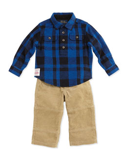 Ralph Lauren Childrenswear Flannel Shirt & Corduroy Pants Set, Heritage Blue, 9-24 Months