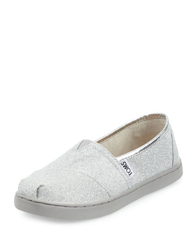 TOMS Classic Slip-On Glimmer Shoe, Silver, Youth