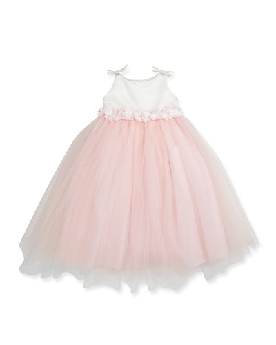 Joan Calabrese Floral-Waist Satin & Tulle Dress, Diamond White/Pink, Sizes 2-6
