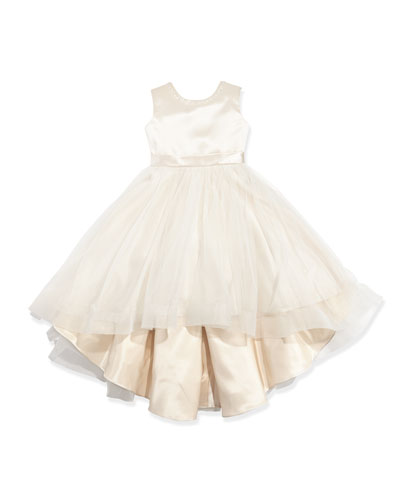 Joan Calabrese Satin & Tulle High-Low Dress, Gardenia/Ivory,