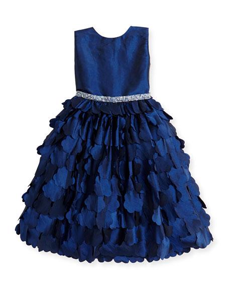 Taffeta Cutout-Floral Dress, Sapphire, Sizes 2-14