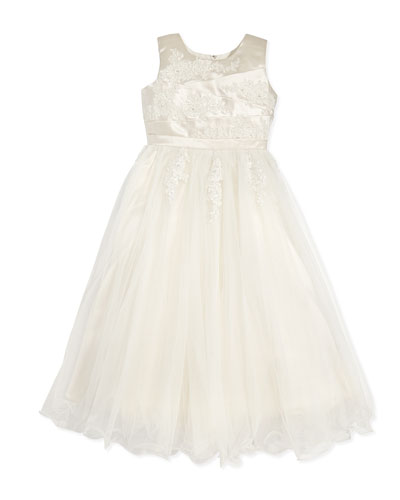 Joan Calabrese Tulle Dress with Pleated Satin Bodice, Ivory/Gardenia, Sizes 2-14