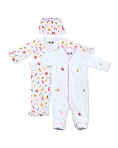 Margery Ellen Dress-Up-Print Ruffle Coverall & Footie Gift Set, 0-9 Months