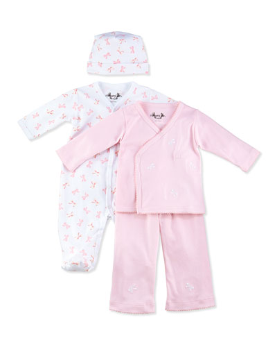 Margery Ellen Bow-Print Wrap Set & Ruffle Footie Gift Set