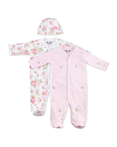 Margery Ellen Vintage-Rose-Print Footie w/ Hat & Embroidered Footie Gift Set, 0-9 Months