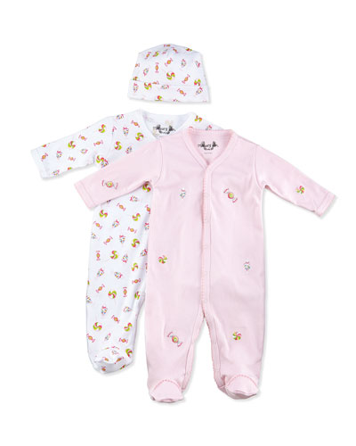 Margery Ellen Candy-Print Footie w/ Hat & Embroidered Footie Gift Set, 0-9 Months