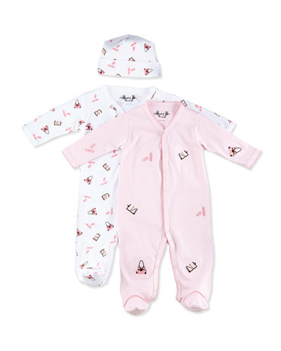 Margery Ellen Diva-Print Footie w/ Hat & Embroidered Footie Gift Set, 0-9 Months