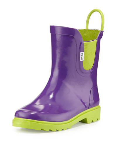 Rubber Rain Boot, Purple, Tiny