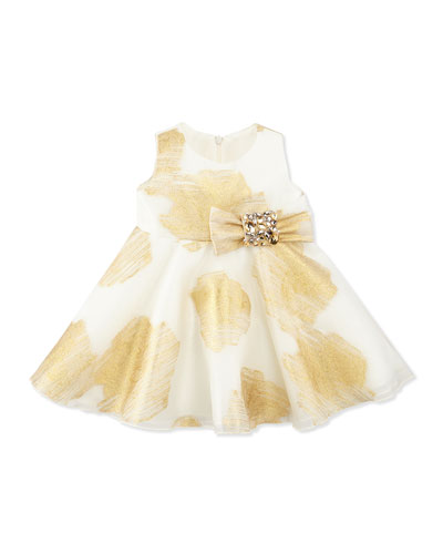 Zoe Little Lady Gold-Print Party Dress, 12-24 Months