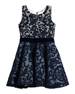 Little Know Lace-Overlay Dress, Navy, Sizes 7-12