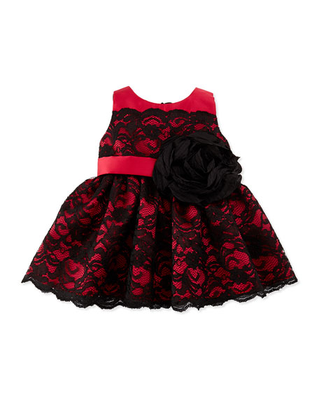 Zoe Lace-Overlay Party Dress, Black/Red, 12-24 Months