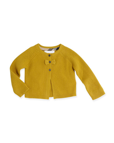 Burberry Cashmere Cardigan with Bow, Yellow Quartz, 3M-3Y