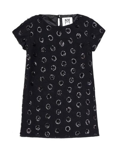 Milly Minis Sequin-Dot T-Shirt Dress, Black, Sizes 8-14