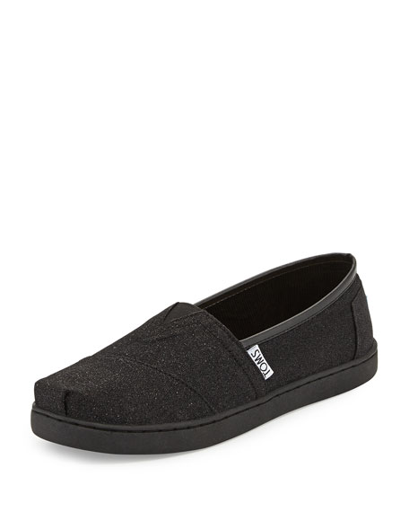 TOMS Glimmer Classic Slip-On, Black, Youth