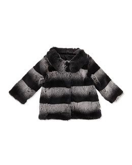 Ombre-Stripe Fur Coat, Gray