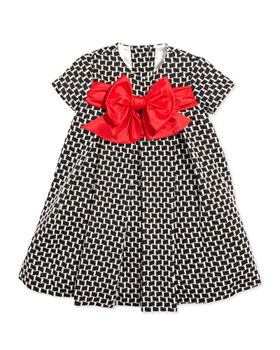 Helena Printed Empire Dress with Bow, 6-24 Months