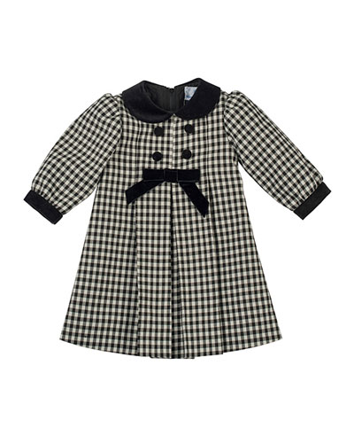 Florence Eiseman Pleated Check Dress with Velvet-Trim, 12-24 Months