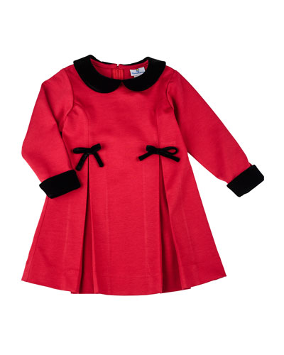 Florence Eiseman Pleated Ponte Dress with Velvet-Trim, 12-24 Months