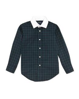 White-Collar Plaid Poplin Shirt, 2T-7