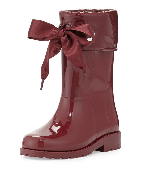 Rain Boots with Bow, Burgundy