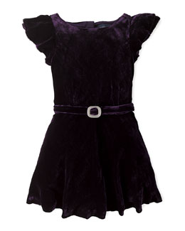 Velvet Flutter-Sleeve Dress, Purple, Sizes 2-6X