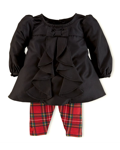 Ralph Lauren Childrenswear Taffeta Tunic & Plaid Leggings Set, 3-24 Months