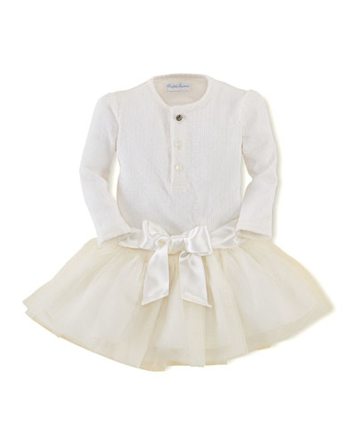 Ralph Lauren Childrenswear Pointelle-Knit Henley & Tulle Skirt Set, 3-24 Months