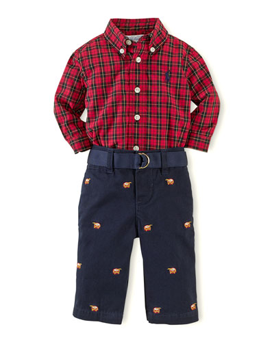 Ralph Lauren Childrenswear Plaid Poplin Shirt & Schiffli Pants Set, 3-24 Months